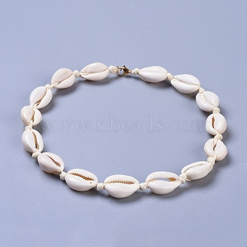 Cowrie Shell Beaded Necklaces, with Brass Lobster Claw Clasps and Eco-Friendly Korean Waxed Polyester Cord, Real 18K Gold Plated, Seashell Color, 15 inches(38cm)(X-NJEW-JN02397-01)