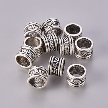 Alloy European Beads, Large Hole Beads, Cadmium Free & Nickel Free & Lead Free, Antique Silver, Column, Size: about 9mm in diameter, 7mm thick, hole: 7mm(X-LF11536Y-NF)