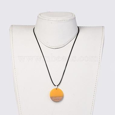 Resin & Wood Pendant Necklaces(NJEW-JN02332-04)-4