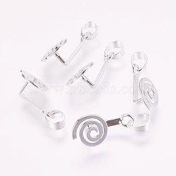 laiton beignet bails, Donuthalter, fit pour pendentifs disque pi fabrication de bijoux, sans nickel, argent, 18.5x9x7 mm, trou: 3x6 mm(X-KK-E109-S-NF)