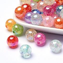 Couleur bubblegum ab craquelés transparent perles rondes acrylique, couleur mixte, 12mm, Trou: 2mm(X-CACR-R011-12mm-M)