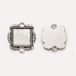 Тибетский сплав стиля площадь кабошон настройки подключения ободок, Старинное серебро, лоток: 15x15 мм; 26x23x2 мм, отверстия: 3 mm(X-PALLOY-J494-10AS)