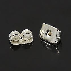 écrous d'oreille fer, boucles d'oreille, plaqué argent, 5x3.5 mm, trou: 1.5 mm(X-IFIN-E012-S)