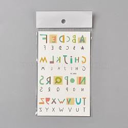 Autocollants temporaires en papier de tatouages de dessin animé de preuve de l'eau provisoire faux, alphabet, colorées, 120~121.5x75mm(AJEW-WH0061-A01)