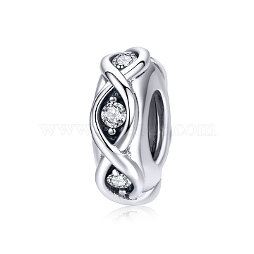 925 Sterling Silver European Beads, with Cubic Zirconia, Rondelle, Antique Silver, 10x10mm(HJEW-FF0012-14)