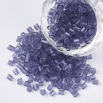 6/0 Two Cut Glass Seed Beads, Hexagon, Transparent Colours, DarkSlateBlue, 3.5~5x3.5~4mm, Hole: 1mm; about 4500pcs/bag(SEED-S033-11B-05)