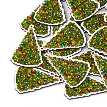 Printed Basswood Pendants, Christmas Trees, Olive Drab, 57x39x3mm, Hole: 1.8mm(X-WOOD-S045-047)