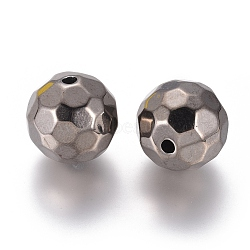 Alloy Beads, Faceted, Round, Gunmetal, 20mm, Hole: 3mm(PALLOY-E569-03B)