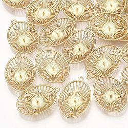 Pendentifs en laiton, avec zircons, pour la moitié de perles percées, ovale, véritable 18k plaqué or, clair, 24x16x4mm, trou: 1.2 mm; broches: 1 mm(KK-T035-104)