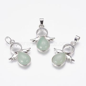 Natural Green Aventurine Pendants, Angel, with Brass Finding, Platinum, 34x25.5x6.5mm, Hole: 4x7mm(G-E467-33J)