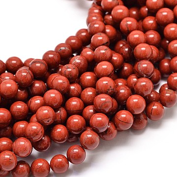 Grade A Natural Red Jasper Bead Strands, 6mm, Hole: 1mm, about 62pcs/strand, 15.5(X-G-P075-36-6mm)