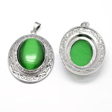 Oval Platinum Plated Brass Cat Eye Big Pendants, Cadmium Free & Lead Free, Green, 50x37x12mm, Hole: 4x7.5mm(G-F228-22C-RS)