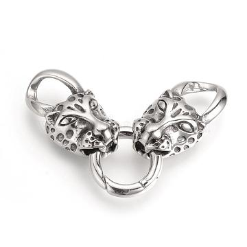Antique Silver Leopard Stainless Steel Clasps