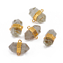 Natural Faceted Quartz Crystal Links, with Golden Plated Edge Brass Findings, Hexagonal Prisms, 26~30x20~23x13~15mm, Hole: 2.5mm