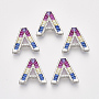 Real Platinum Plated Colorful Alphabet Brass+Cubic Zirconia Slide Charms(ZIRC-S063-01A-P)