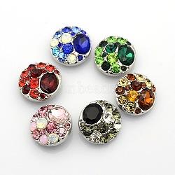 Alliage de zinc strass bijoux plat rond boutons pression, Sans cadmium & sans nickel & sans plomb, couleur mixte, 20x9mm(SNAP-L002-18-NR)