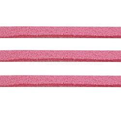 Rose cordon ton suède, dentelle de faux suède, environ 1 m de long,  largeur de 2.5 mm, environ 1.4 mm d'épaisseur, 1 m / chapelet(X-LW14189Y)
