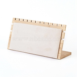 Bamboo Necklace Display Stand, L-Shaped Long Chain Display Stand, Rectangle, Linen, 24x1.2x12.1cm(NDIS-E022-02)