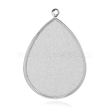 Teardrop Platinum Plated Iron Big Pendants, with Glitter, White, 69x48x0.6mm, Hole: 3mm(IFIN-J043-03P)