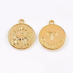 тибетские сплава типа, плоские круглые, Овен, золотой, 20x17x2.5 mm, отверстия: 2 mm(PALLOY-XCP00013-01G)