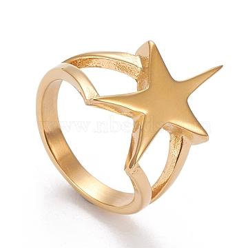 304 Stainless Steel Finger Rings, Star, Golden, Size 6~9, Inner Diameter: 16.5~18.9mm(RJEW-R133-010G)