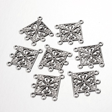 Antique Silver Tibetan Style Rhombus Chandelier Component Links for Dangle Earring Making, Lead Free and Cadmium Free and Nickel Free, 37x33.5x1.5mm, Hole: 2mm(X-EA400Y-NF)