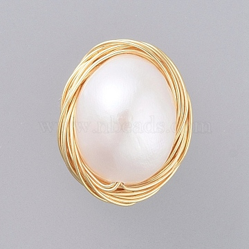 Natural Baroque Pearl Keshi Pearl, Cultured Freshwater Pearl Cabochons, with Real 18K Gold Plated Copper Wire, Oval, Seashell Color, 13x11x7mm(X-PALLOY-JF00408)