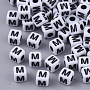 White Opaque Acrylic Beads, Cube with Black Alphabet, Letter.M, 5x5x5mm, Hole: 1.8mm; about 240pcs/20g