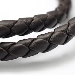 Cordon en cuir imitation tressé, coconutbrown, 5~6 mm; environ 10 mètres / rouleau(LC-D051-B-07)