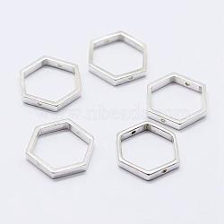 925 monture de perles en argent sterling, hexagone, argenterie, 10x11x2mm, trou: 0.8 mm; intérieure: 8x9 mm(STER-F036-12S-11x10)