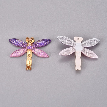 Plastic Pendants, Dragonfly, Colorful, 26.5x31.5x4.5mm, Hole: 1.2mm(KY-TAC0005-03B)
