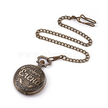 Alloy Quartz Pocket Watches, with Iron Chains, Flat Round with Word, Antique Bronze, 16.7inches(42.5cm)(WACH-L044-10AB)