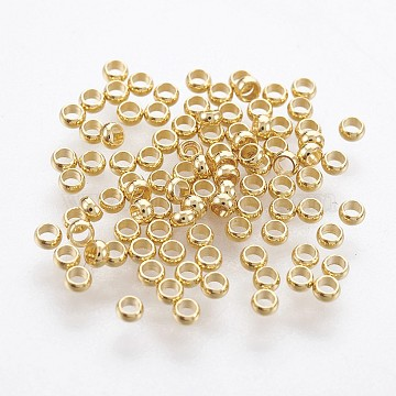 316 Surgical Stainless Steel Crimp Beads, Rondelle, Golden, 1.9mm, Hole: 1mm(STAS-P221-25G)