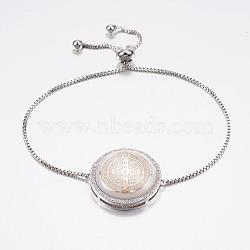 """Bracelets réglables de bolo de coquille de zircone cubique en laiton de pave réglable, Bracelets coulissants, avec des chaînes de boîte en laiton, plat rond avec la médaille de saint bénédict, blanc, platine, 10-1/4"""" (260 mm); 1.2mm(BJEW-H557-09P)"""