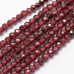 grenat naturels brins de perles, facettes, arrondir, 3~3.5 mm, trou: 0.5~0.6 mm; environ 123 perle / brin, 15 (38~39 cm)(G-F460-54)