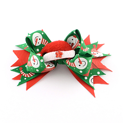 Christmas Grosgrain Bowknot Alligator Hair Clips, with Iron Clips, Green, Platinum, 95x130mm; clip: 56x8mm(PHAR-R167-01)