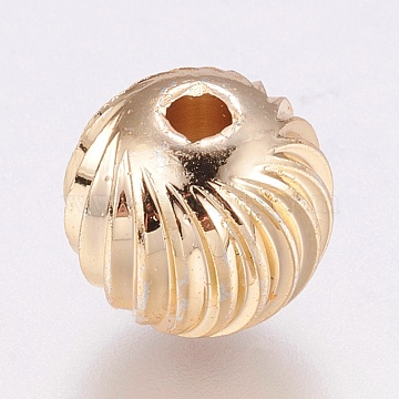 Brass Corrugated Beads, Long-Lasting Plated, Round, Real 24K Gold Plated, 7x6mm, Hole: 2.5mm(X-KK-A143-01A)