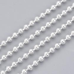 chaînes à billes en laiton, plaqué longue durée, soudé, avec bobine, sans cadmium et sans plomb, argent, 2 mm(X-CHC-S008-003E-S)