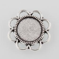 argent antique style tibétain paramètres alliage bac à fleurs cabochon, plateau: 14 mm; 25x2.5 mm(X-TIBE-M021-05AS)