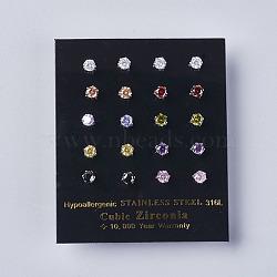 Серьги кубического циркония, с 304 фурнитурой из нержавеющей стали, разноцветные, 13.5x4 мм ; штифт: 0.6 мм(EJEW-I209-09-4mm)