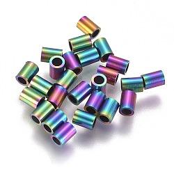 Perles de tube en 304 acier inoxydable, multicolore, 4x3mm, Trou: 2mm(STAS-F224-01M-A)