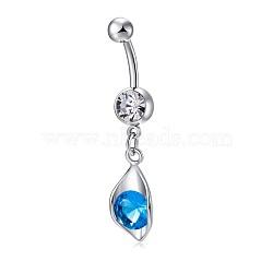 piercing bijoux, anneau de nombril de zircon cubique en laiton environnemental, anneaux de ventre, feuille, platine, deepskyblue, 38x11.5 mm(AJEW-EE0006-23B)