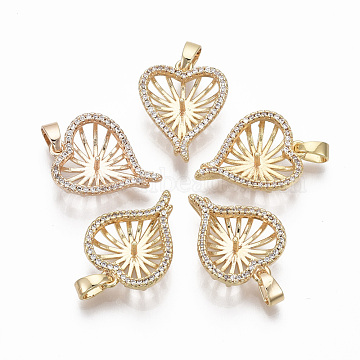 Brass Cubic Zirconia Peg Bails Pendants, for Half Drilled Bead, Nickel Free, with Brass Snap on Bails, Heart, Real 18K Gold Plated, Clear, 19x14x6mm, Hole: 4x2mm, Pin: 0.9mm(for half drilled beads)(X-KK-N233-023-NF)