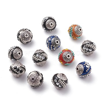 Handmade Indonesia Beads, with Alloy Cores, Round, Mixed Color, Antique Silver, 15x15x15mm, Hole: 2mm(X-IPDL-Q014-M)