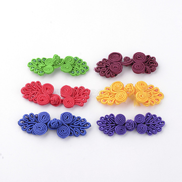 Handmade Chinese Frogs Knots Buttons Sets, Polyester Button, Flower, Mixed Color, 64~72x21~24x4~5mm(X-BUTT-S020-07)