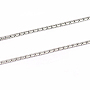 304 Stainless Steel Chains, Soldered, Stainless Steel Color, 1.4x0.55mm