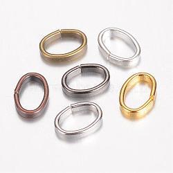 Anneaux en fer, ovale, couleur mixte, 10x7x2mm(IFIN-D085-01)