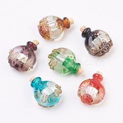 Pendentifs de bouteille de parfum au Lampwork argenté manuels, bouteille d'huile essentielle, avec du sable d'or, couleur mixte, 32.5~34mm, Trou: 5mm(FOIL-P001-B)