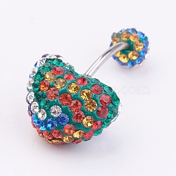 Austrian Crystal Belly Rings, with 316 Stainless Steel and Polymer Clay, Round, Colorful, Size: Length: about 27mm long(X-SWAR-G017-5)