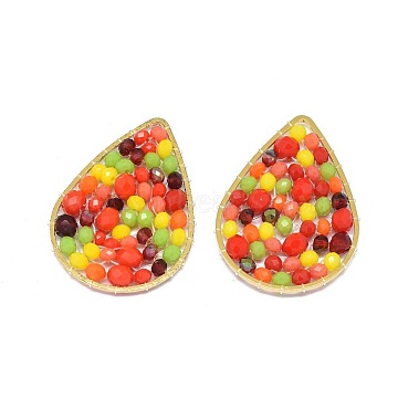 32mm Colorful Drop Glass Beads